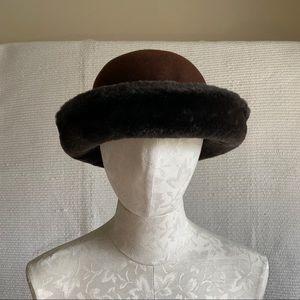 Vintage Italian Wool Hat with Faux Fur Trim Brown